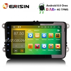 "Erisin ES7825V 8"" DAB+Android 8.0 Car Stereo GPS OPS for VW Passat Golf V Tiguan Eos Polo Caddy"