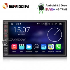 "Erisin ES8841U 7"" Double Din DAB+ Android 8.0 Car Stereo WiFi DVR OBD2 TPMS DTV 4G RDS SWC Sat Nav"
