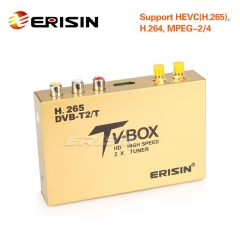 Erisin ES338 Car Mobile Digitale HDTV DVB-T2 Receiver HEVC H.265 H.264 HDMI USB 160km/h