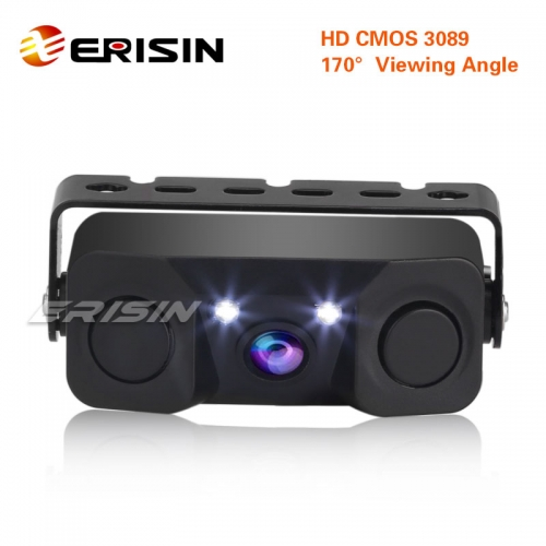 Erisin ES568 170º  Car Auto Rear View Camera Reverse Parking Radar with 3 in 1 Parking Sensor