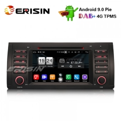 "Erisin ES7753B 7"" Octa-Core Android 9.0カーステレオCD GPS DTV DAB + OBD2 for BMW 5シリーズE39 E53 X5 M5"