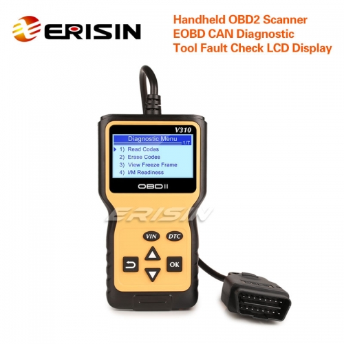 Erisin ES390 Handheld OBD2 Scanner EOBD CAN Car Diagnostic Tool Fault Check LCD VIN DTC