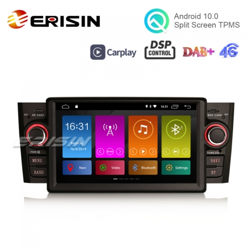 "Erisin ES3073F 7"" DAB + Android 10.0カーステレオSat Nav GPS WiFi CarPlay DSP USB SD for Fiat Punto Linea"