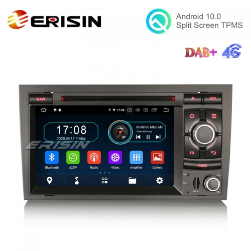 "Erisin ES5974A 7"" DAB+ CarPlay+ Android 10.0 Car Stereo for AUDI A4 S4 RS4 SEAT EXEO GPS Wifi Radio SatNav"