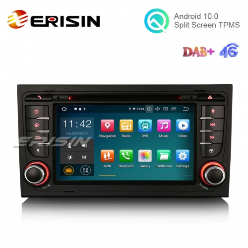 "Erisin ES5178A 7"" 16GB Android 10.0 Car DVD Stereo for Audi A4 S4 CarPlay+ DAB+ TPMS Wifi GPS Sat"
