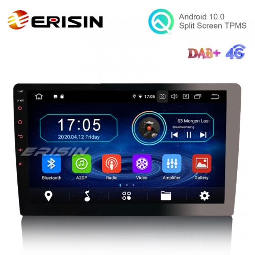 "Erisin ES6910U 10.1"" Detachable Screen Android 10.0 Car Stereo GPS DAB+ WiFi BT 4G 1 Din Unviersal Auto Radio"