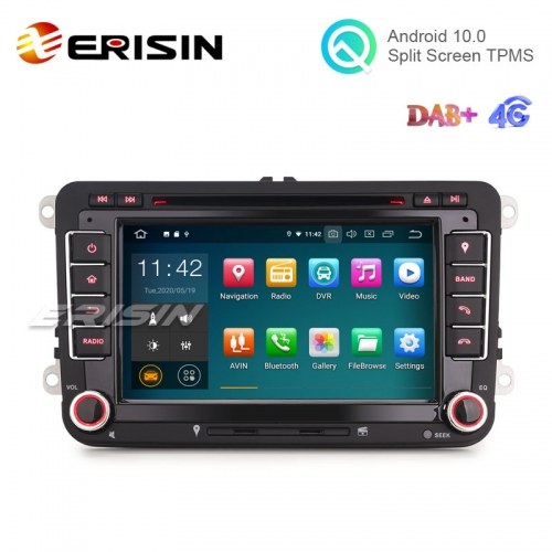 "Erisin ES5148V 7"" Android 10.0 Car DVD for VW Seat Skoda with GPS Radio WiFi BT TPMS DAB+"